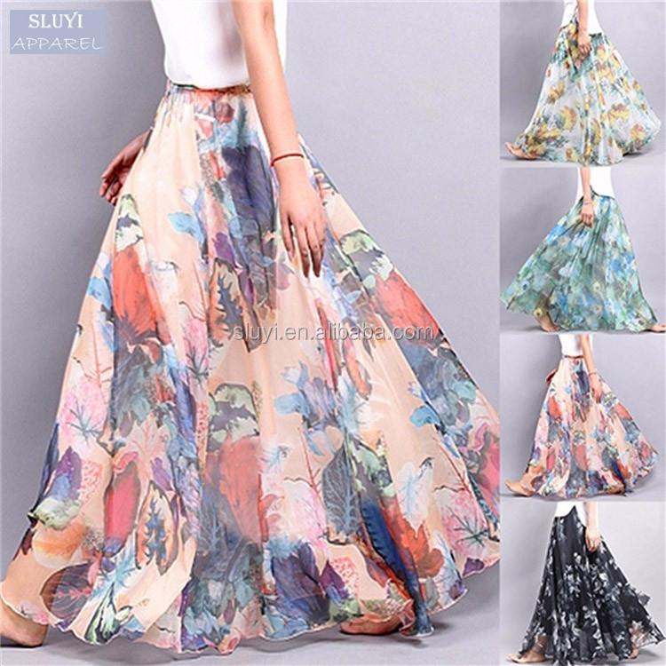 Femmes de maxi jupe De Mode 2017 couleurs d\u0027été Imprimé floral Mousseline  de Soie