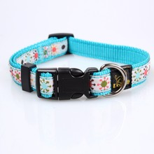 best soft nylon dog collar with customed embroidered logo