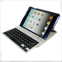 Cheap aluminum bluetooth keyboard with leather case for iPad Mini P-iPDMINICASE082