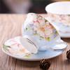 2014 new item bone china cup and saucer with flower decals high quality with special handle