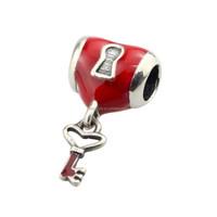 Wholesale Red Enamel Heart Lock and Key 925 Sterling Silver Charm Jewelry for European Bracelet