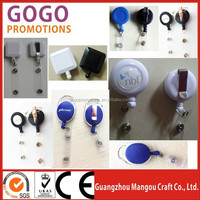 Promotional OEM Unique Badge Reel, badge reel with swivel clip, round and square shape metal retractable badge reel key chain