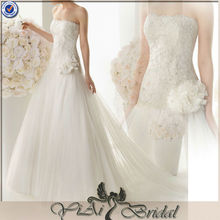 JJ3265 Beaded Beach Tulle pictures of long train wedding dresses