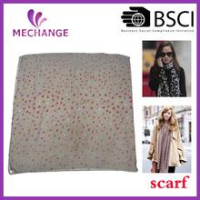 2015 Fashion low MOQ custom OEM colorful dot polyester scarf, hijab scarf