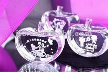 Apple Shape Laser Engraving Crystal Paperweight,Christmas gifts