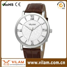 100pc/lot,Unique Design Men Business Watch Genuine Leather Strap Roma Numbers Women Watch