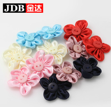 2015 colorful handmade feather silk fabric brooch flower with button center