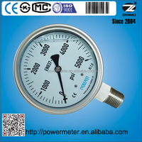 YBF100 4 inch high pressure gauge 5000psi siliver soldering helical type bourdon tube NPT1/2