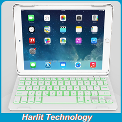 2015 Ultra Folio Leather Cover Bluetooth Keyboard for iPad Air With 7 Color Back Light Bluetooth Keyboard Backlit Dual Stand