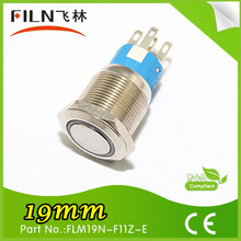 FILN CE&ROHS 19mm waterproof 12v 1NO1NC momentary led push button switch blue ring light