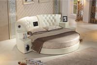 Bisini Massage Genuine Leather DVD Round Bed with Speaker, Hotel Massage Sex Round bed , Music Massage Round Bed