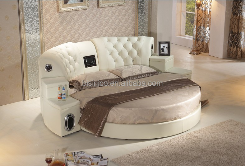 Modern genuine leather dvd round bed with speaker hotel for Sofa lit cuir