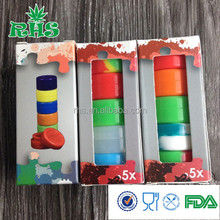 Environmental friend 3ml set silicone weed jar wax/oil containers