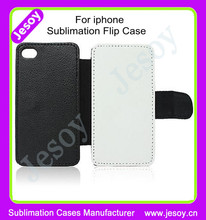 JESOY Sublimation For iphone 6 6s Leather Black Flip Cover Case