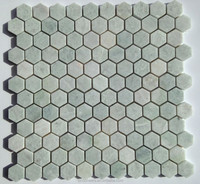 """Ming Green Marble 1"""" Hexagon Polished Mosaic Tile"""