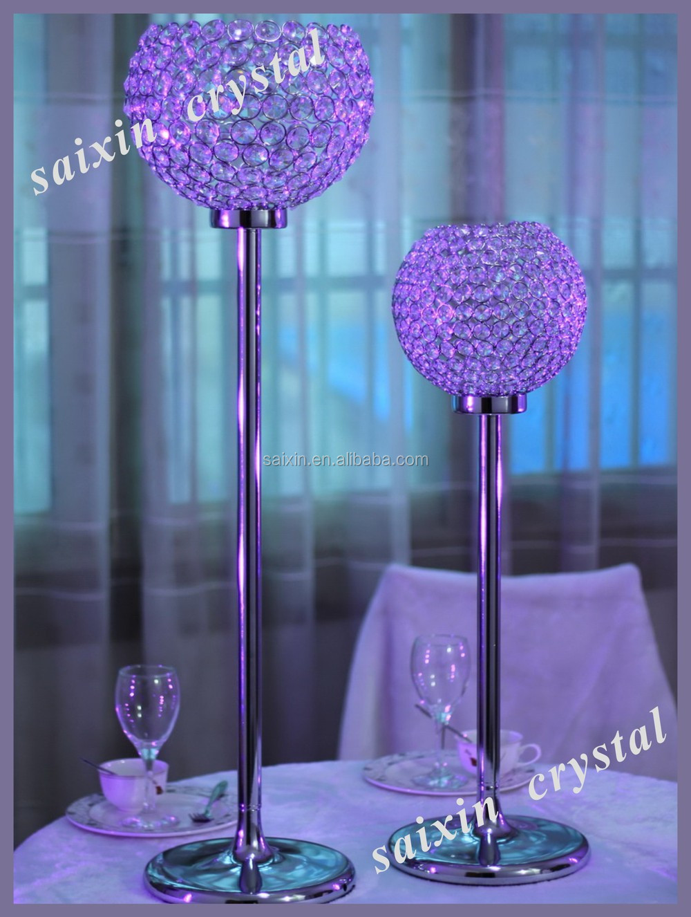 Crystal globe candles holder spherical crystal for wedding for Buy wedding centerpieces