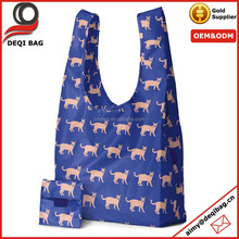 Dog printed 210D Ripstop Polyester Foldable Shopping Bag