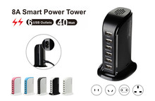 Family-size 8A big power smart technology 6 ports hot travel charger for mobile phone and tablets ,AU/EU/EU/US options