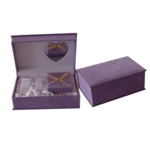 Elegant Purple Jewelry Case For Women Watch Bangle With Heart Shaped Glass