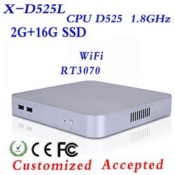 INTEL D525 small size but durable and efficient computers fanless mini computer desktop pc case