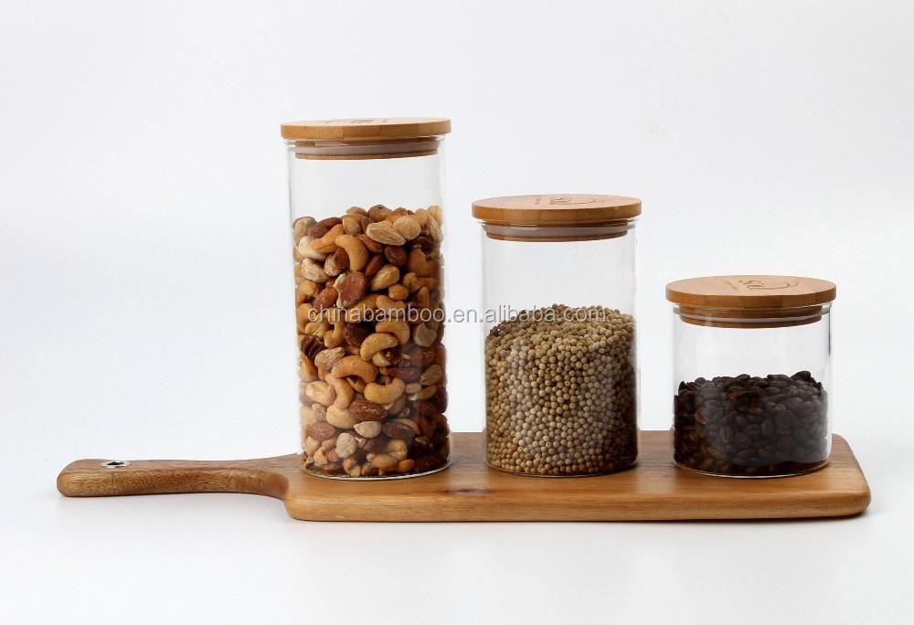 Verre pot avec bambou bois couvercle bocaux avec des for Achat bocaux en verre