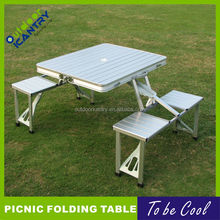 Aluminum folding table with four seats, picnic table, outdoor table DA1503