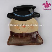 prato de cerâmica com boneco de neve para o natal dia