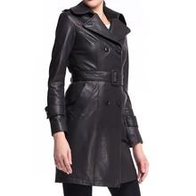 Ladies black color long coat leather trench coat