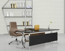 PT-D0522 New metal tables tempered glass tables top office desk office table design photos