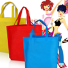 Cheap logo shopping tote bags, simple color eco non woven bags, colorful shopping bags