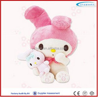 Pink rabbit with little one soft plush toys
