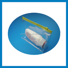 Clear PVC Plastic cosmetic bag with 600D polyester piping and long Handle