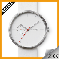 Simplest mens watch ,Day/Date display ,metal case with leather strap ,red color second hands