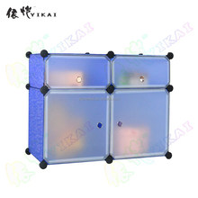 4 cubes safety and fashion kids toy DIY plastic cabinet with doors(YK-1015)