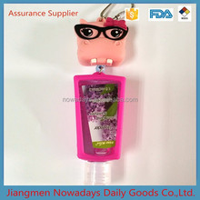 China easy take silicone body care hand sanitizer holder keychain
