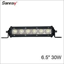6.5 inch 30W single row led light bar 6pcs*5W Epistar single row led light bar offroad 4x4 auto driving light bar