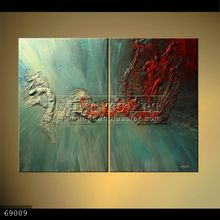 Handmade Modern Group thick palette knife Abstract Oil painting on canvas, THE DRAGON TALE,red,green,white,two panels