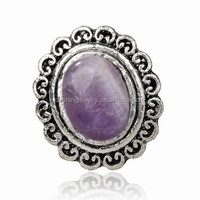 Tibet Silver Simulated Amethyst Oval Finger Cocktail Ring Adjustable for women