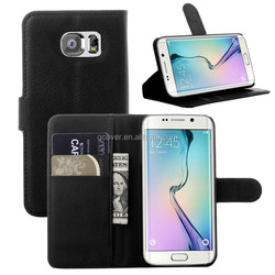 for Samsung galaxy S6 edge wallet stand case with credit card, classic black PU leather case for Samsung Galaxy S6 edge
