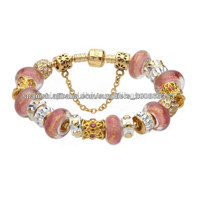 Rosa de cristal cuentas de oro pulsera plateada murano para mujeres jóvenes