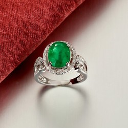 18K White Gold Plated Diamond Single Emerald Stone Gold Ring