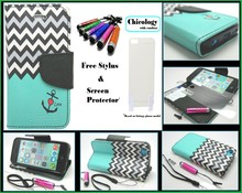 Hot selling Wave Design Magnetic Clutch Stand Flip Leather Book Case for iPhone 5c