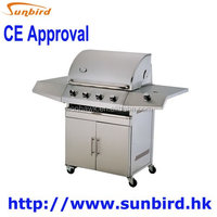 4 mian burners barbecue grill with back/infrared burner and side oven