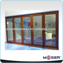High quality solid wood soundproof double glazed folding glass door