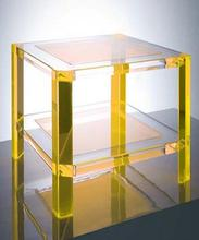 high transparent custom design golden acrylic big square table factory supplier
