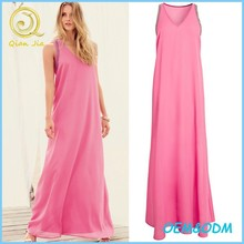 2015 Women Summer Clothes Pink Hand Beaded Embellished Maxi Chiffon Dress