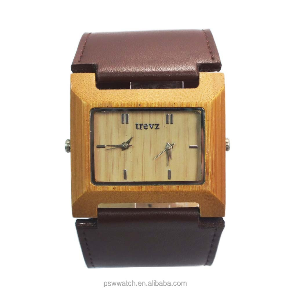 custom wood square bamboo watch wood watch big strap leather men wood watch