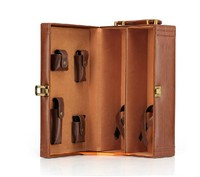 High quality luxury coffee leather wine carrier