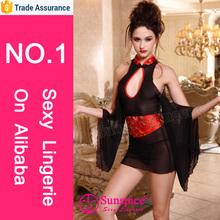 Venta al por mayor ropa interior atractiva adulta trajes de circo del traje del Geisha con vestido de malla grandes mangas