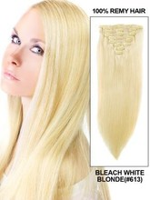 Hot wholesale chinese human hair 613 silky straight hair extension with clip